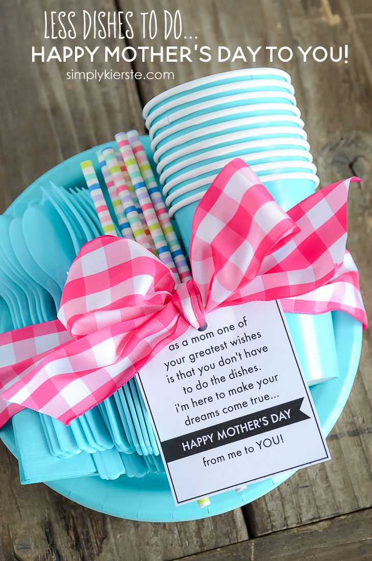 less dishes for mom: mother's day gift & printable | pinterest