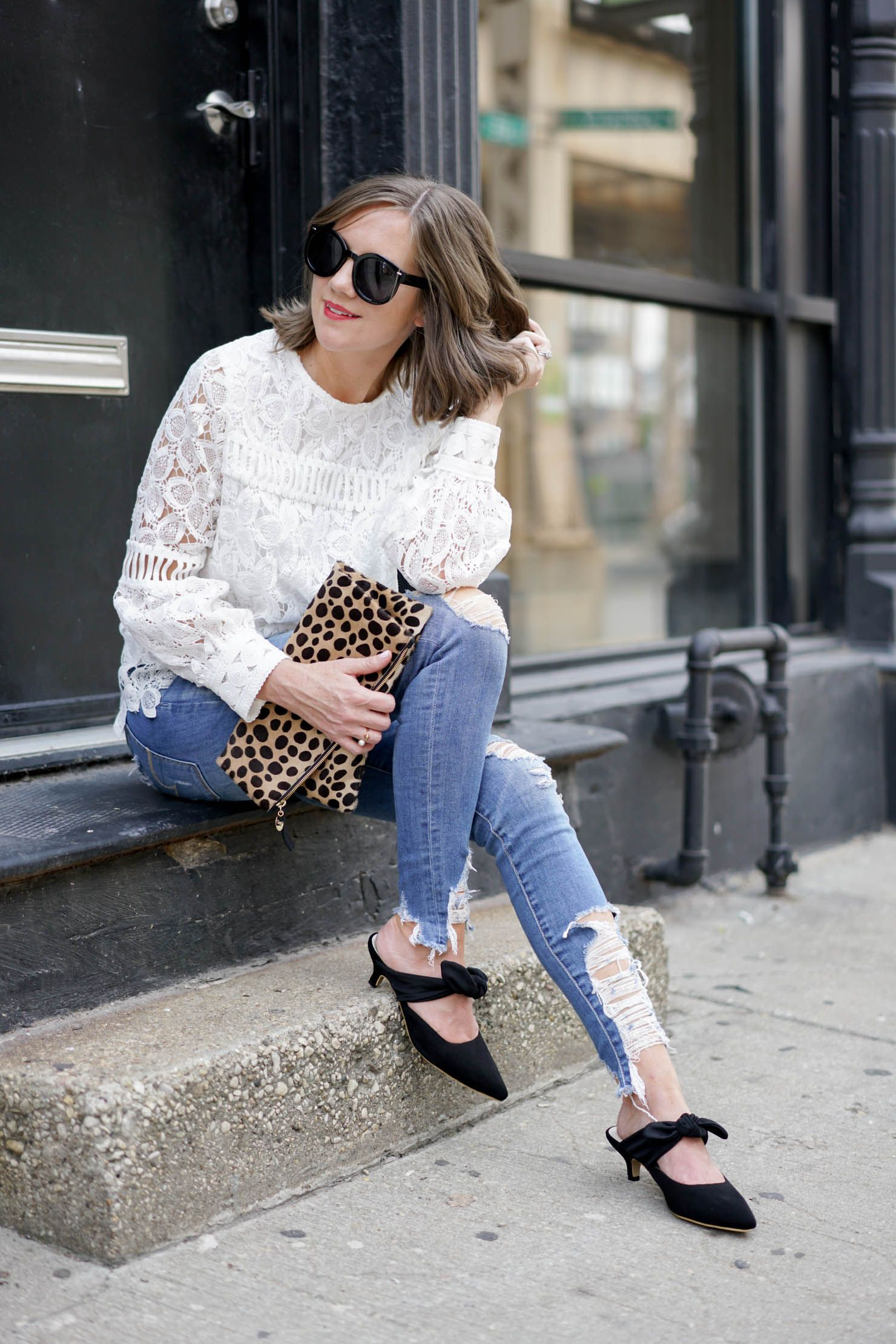 3acb1dbed7 How to Dress Down a Lace Top + The Row Coco Mules Look for Less ...
