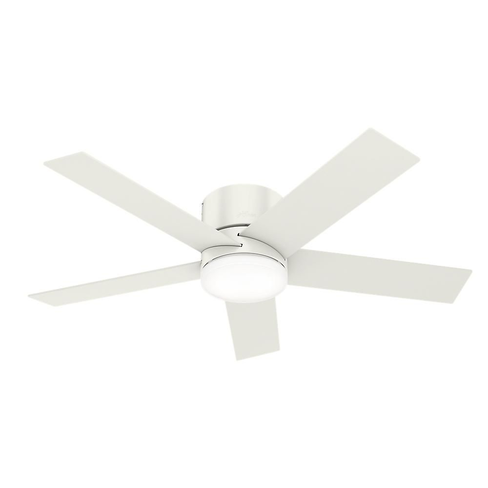 Hunter Vicinity 52 In Led Indoor Fresh White Ceiling Fan With Integrated Light Kit And Handheld Remote 59565 The Home Depot Ceiling Fan With Light Fan Light Flush Mount Ceiling Fan