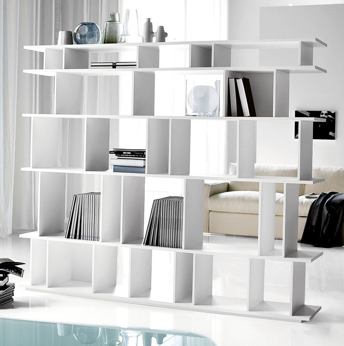 bookcase p bookcases open white office divider in mn room modern whitegrey bookshelf furniture concept kayla