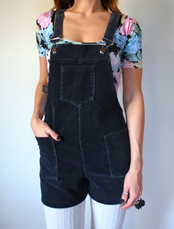 e5cefa48f207 Vintage Corduroy Overall Shorts    70 s Romper    by TheVelvetMoon