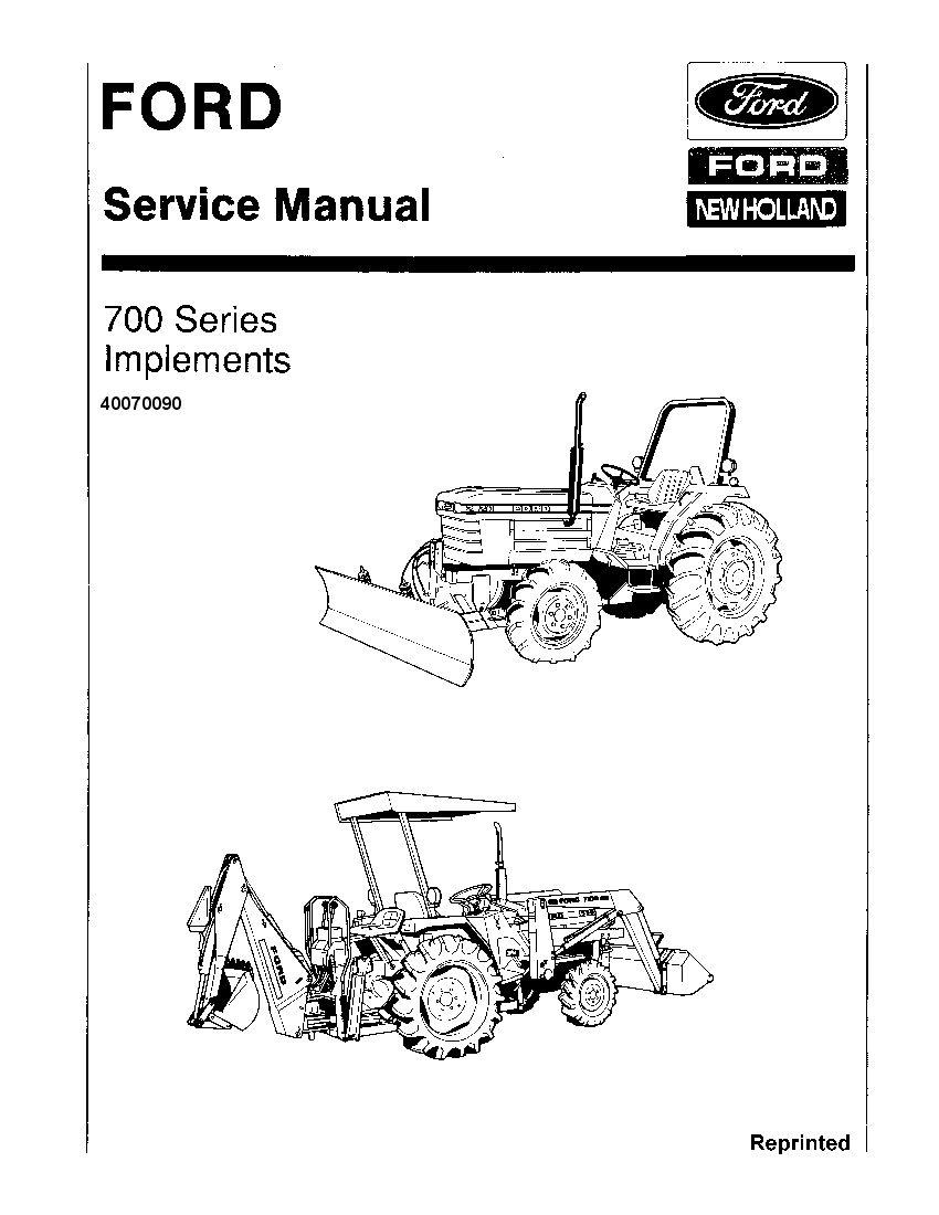 Ford 700 Series implements Tractors Workshop Repair