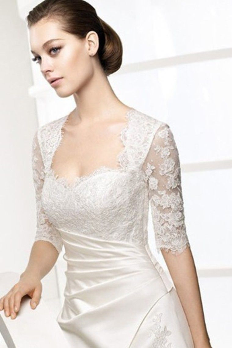 Fantastic a line square short sleeves brush train satin bridal gown
