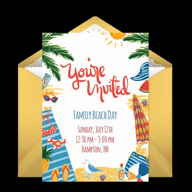 Free day at the beach invitations birthdays party invitations and beach party invitations filmwisefo Choice Image