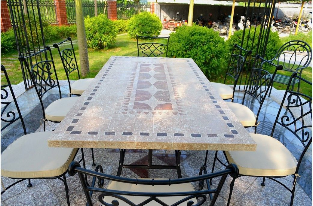 160 200 240cm Patio Garden Stone Mosaic Marble Dining Table