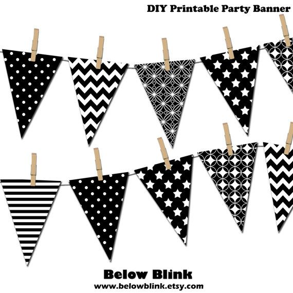 Black and White Banner, Printable Party Banner, Happy Birthday