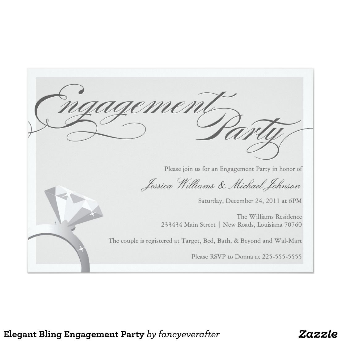 Elegant Bling Engagement Party Card | Wedding :Engagement Party ...