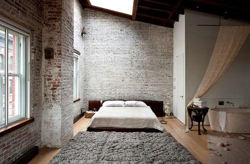 incredible hardwood floor bedroom   exposed brick, lofted exposed beam ceiling, sky light ...