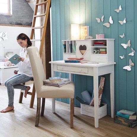 wooden childu0027s writing desk in white w 86cm valentine maisons du monde