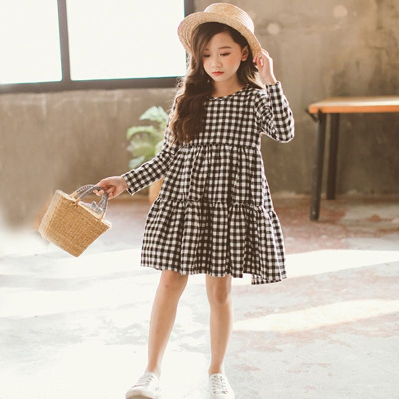 kids girls plaid spring dress 2020 cotton teenager long sleeve dresses for big girls clothes size 3 4 5 6 7 8 9 10 11 12 years - aliexpress.com -   15 DIY Clothes For Girls fashion ideas