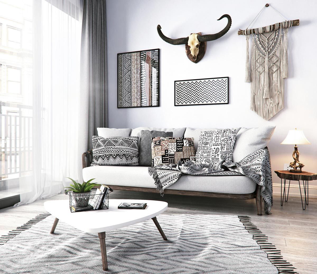 Modern Monochrome Tribal Decor | Lucious Living Rooms | Pinterest ...