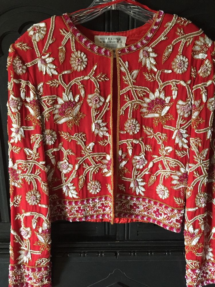 Womens Vintage I.Magnin Della Roufogali Beaded Party Formal Jacket Size M [T6]