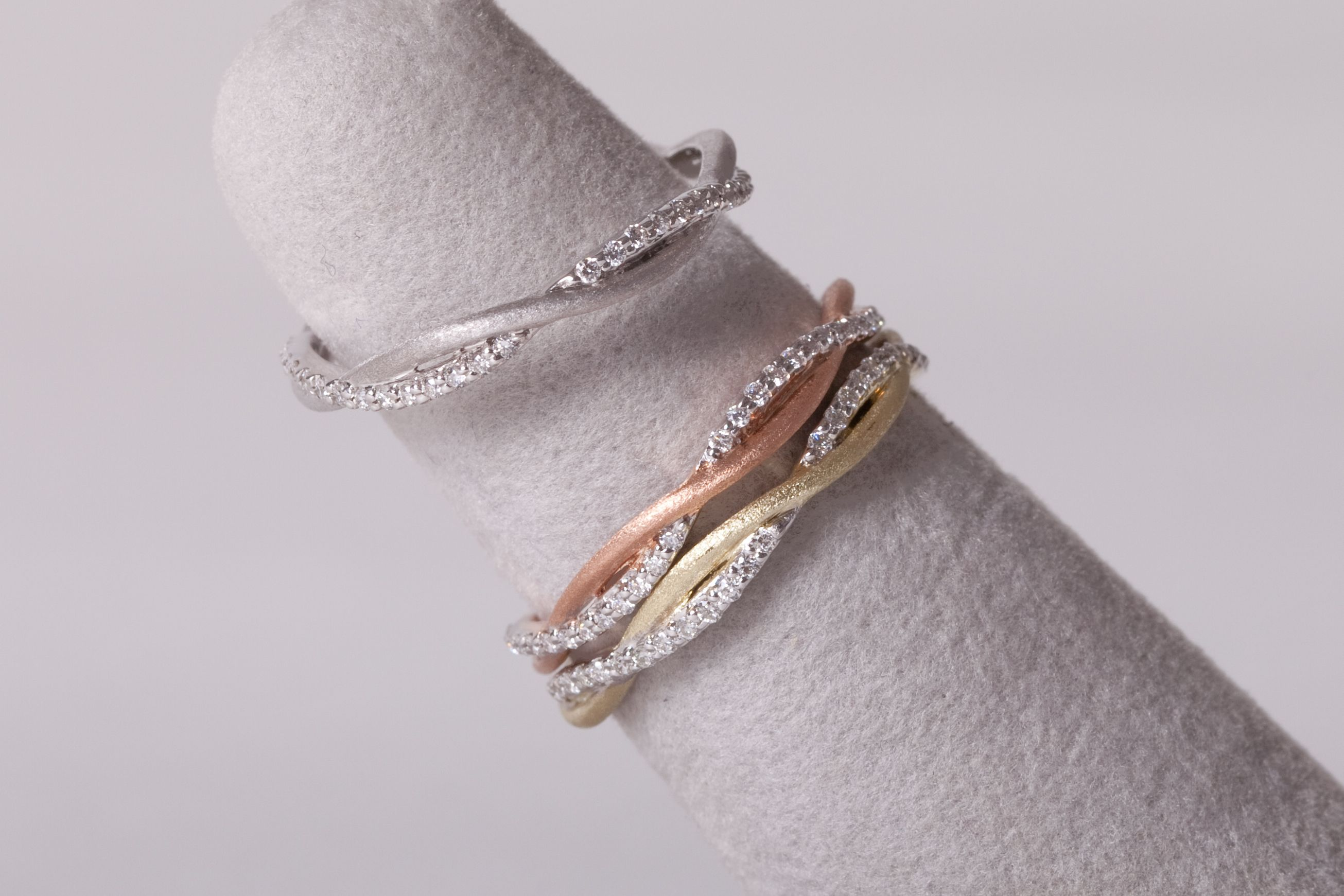 14K WHITE, YELLOW OR ROSE GOLD BRAIDED BANDS, DIAMONDS