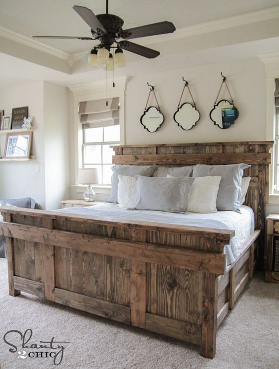 17 Gorgeous Farmhouse Projects  Free Woodworking Plans King Size Stunning Farmhouse Style Bedroom Inspiration