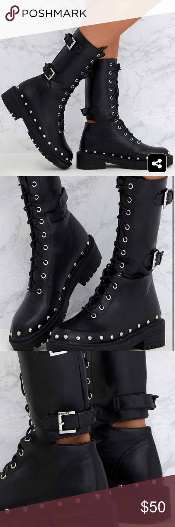 Black Chunky Hard Wear Lace Up Ankle
