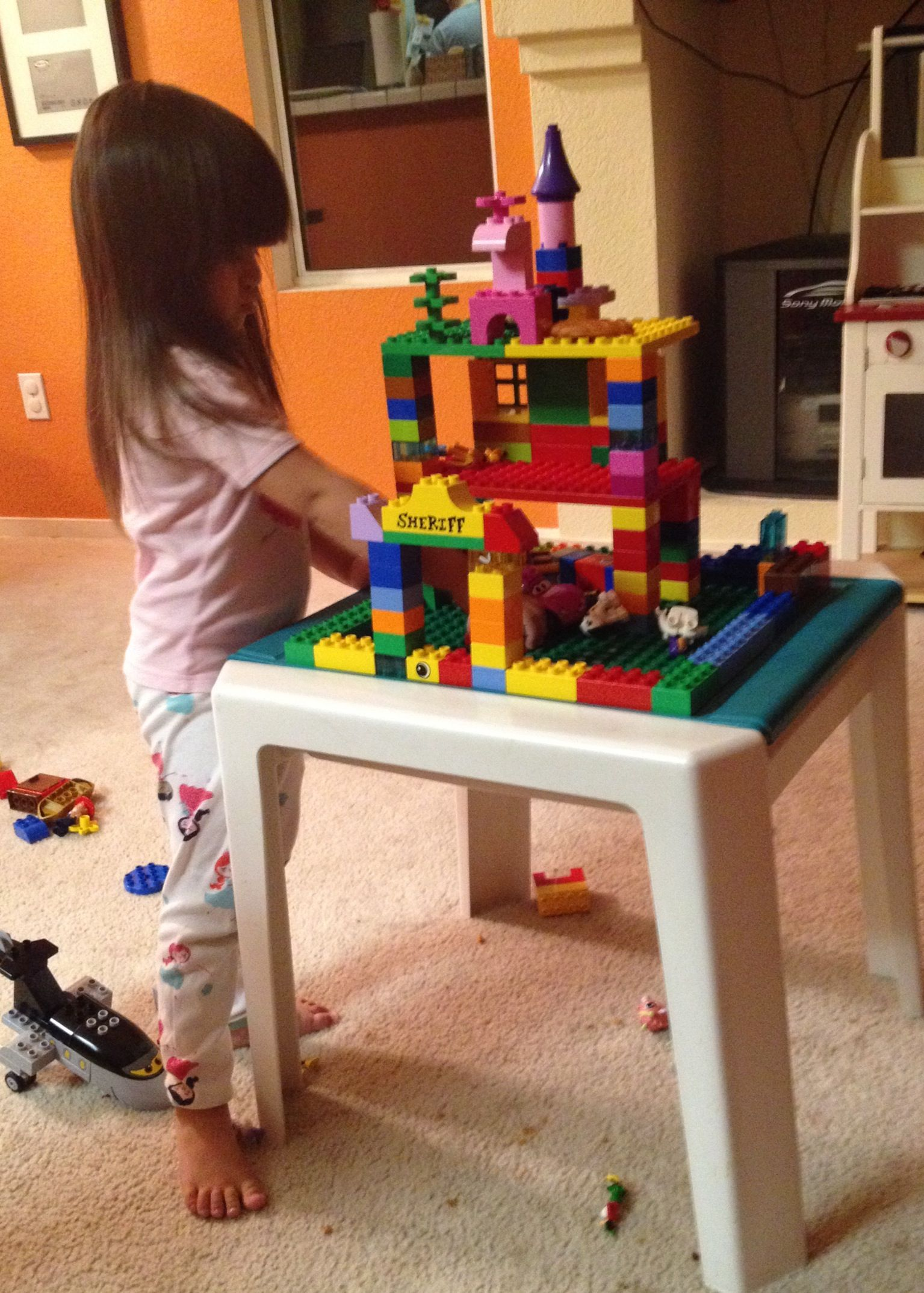 Home made Lego Table: $5 table from the flea market, wood glue and ...