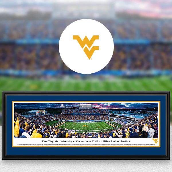 West Virginia Mountaineers College Sports Panoramic Posters - Fan Cave Decor