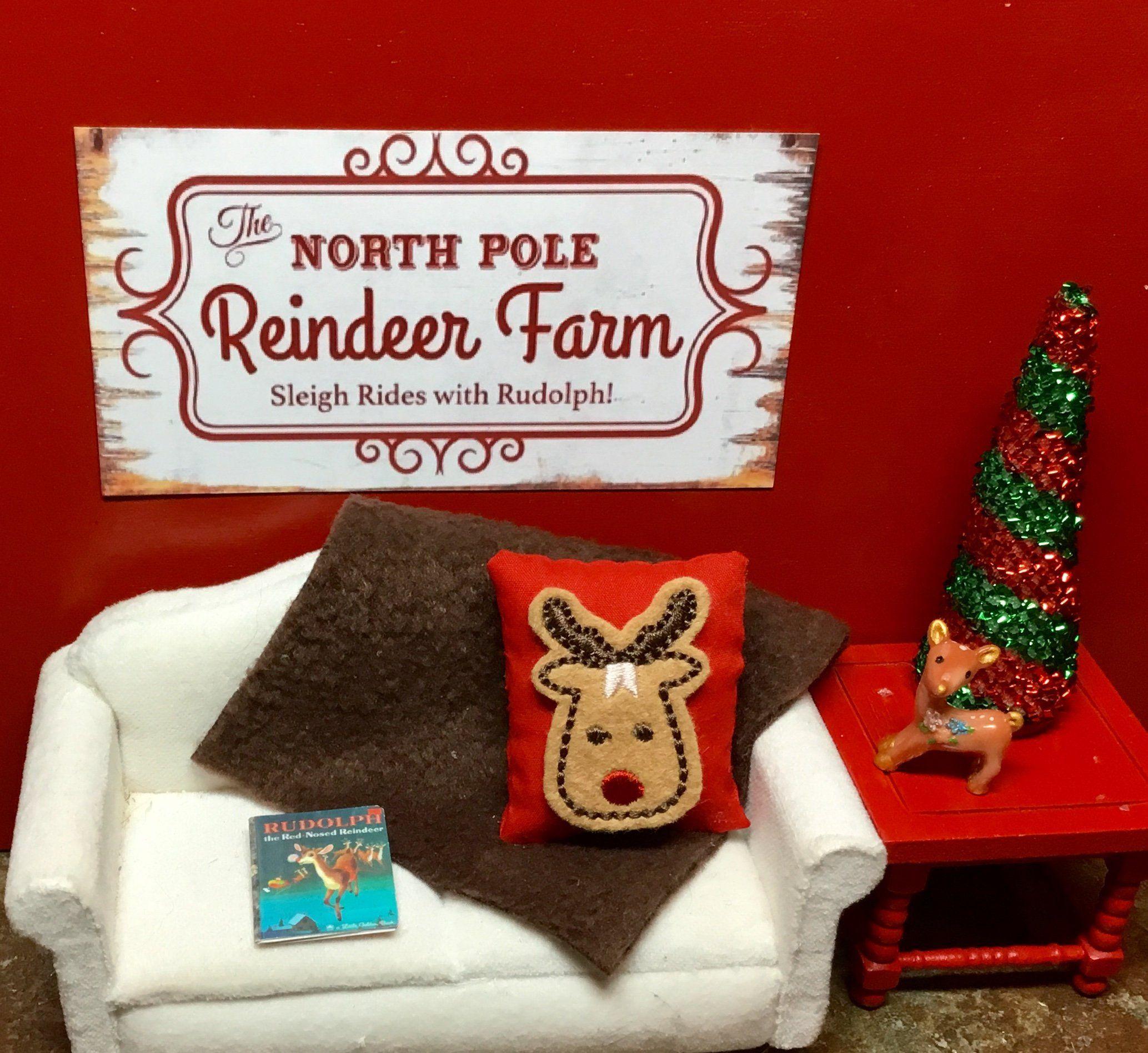 Christmas Tree Farms Victoria: Dollhouse Miniature Reindeer Farm Sign, Rudolph Pillow