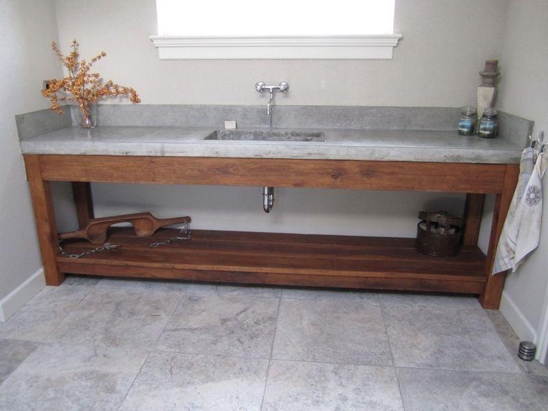 Wasbak Badkamer Grijze : Grijze wasbak badkamer eenvoudig stoere badmeubels van hout en