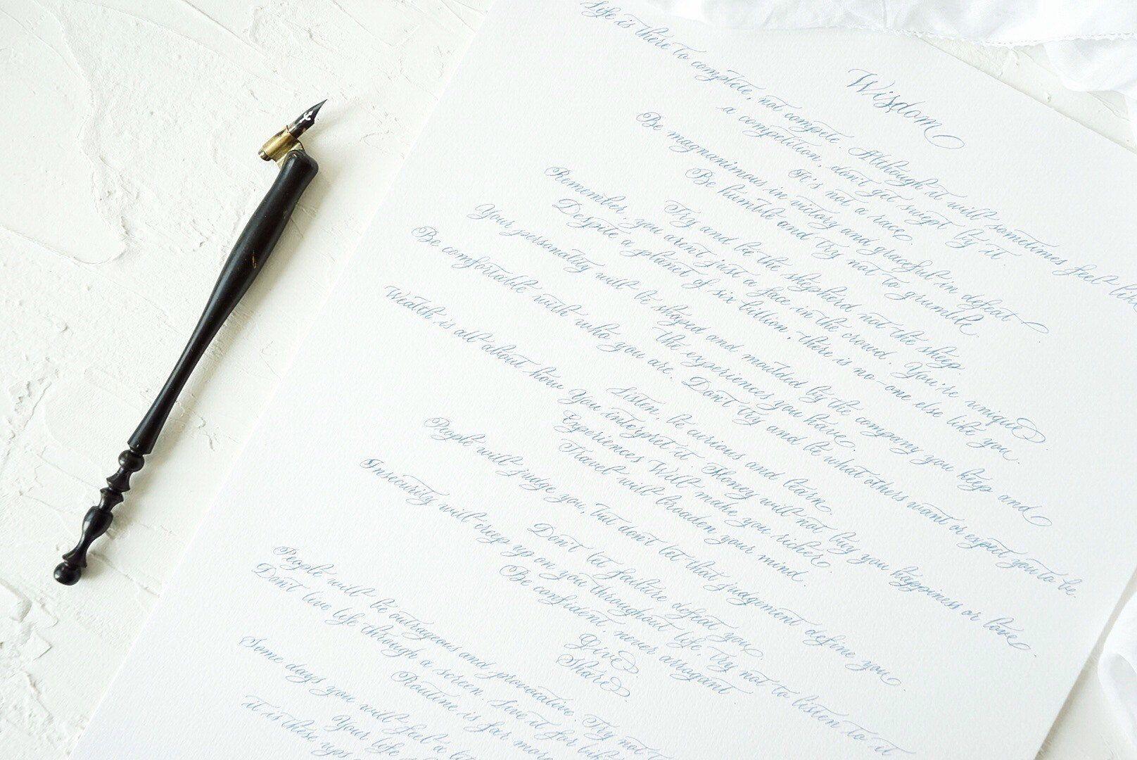 Custom calligraphy for wedding vows, quotes, poems, lyrics