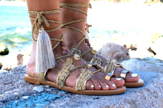 ad36cb670eff9 Pin by Eleni Fotopoulou on Boho shoes | Gladiator sandals, Tie up ...