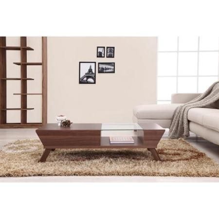 Furniture of America Kress Glass Insert Mid-century Style Coffee Table Walnut