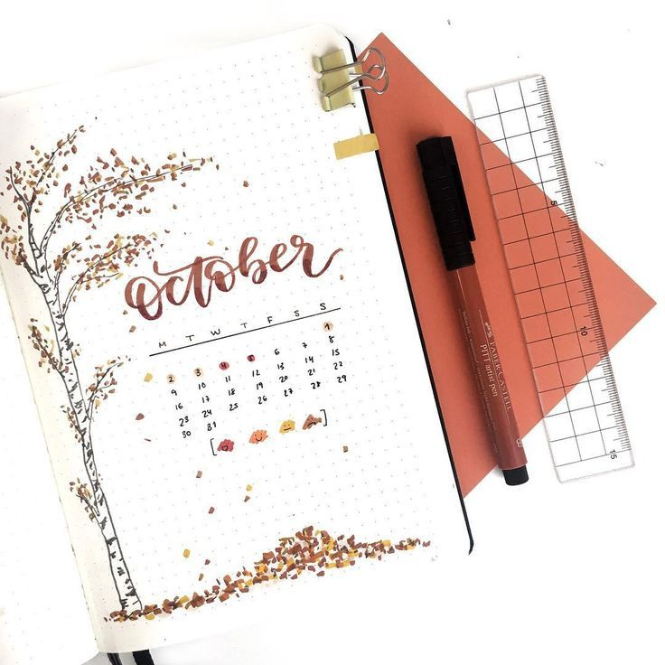 "Cristina // on Instagram: ""I'm so happy with my monthly cover page for October, although it's weird for me to do it this simple � I included the mood tracker in the…"""