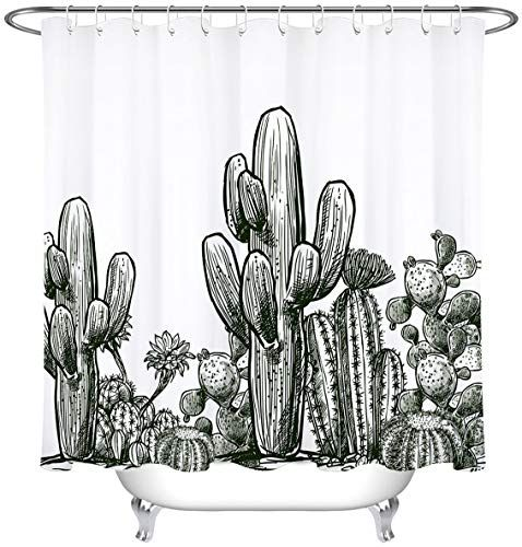 $19.99 LB Vintage Black White Desert Prickly Plant Succulent Saguaro Cactus Shower Curtain
