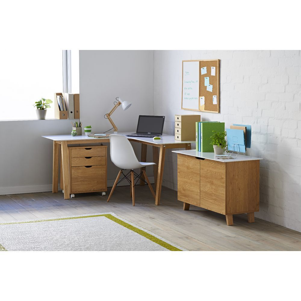Linear Corner Workstation Oak and White  Officeworks  Study