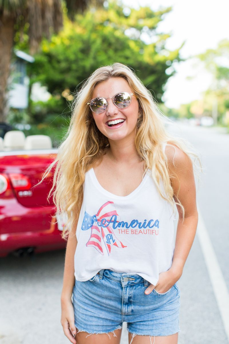 Monogrammed 'America The Beautiful' Cropped Tank in 2020