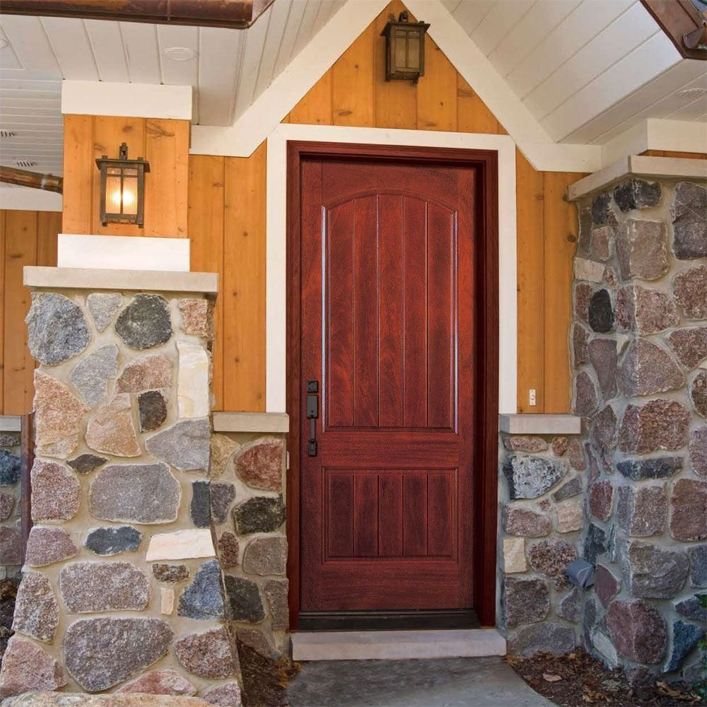 Feather River Doors 37 5 In X 81 625 In 2 Panel Plank Cherry Mahogany Stained Right Hand Inswing Fiberglass Fiberglass Entry Doors Prehung Doors Entry Doors