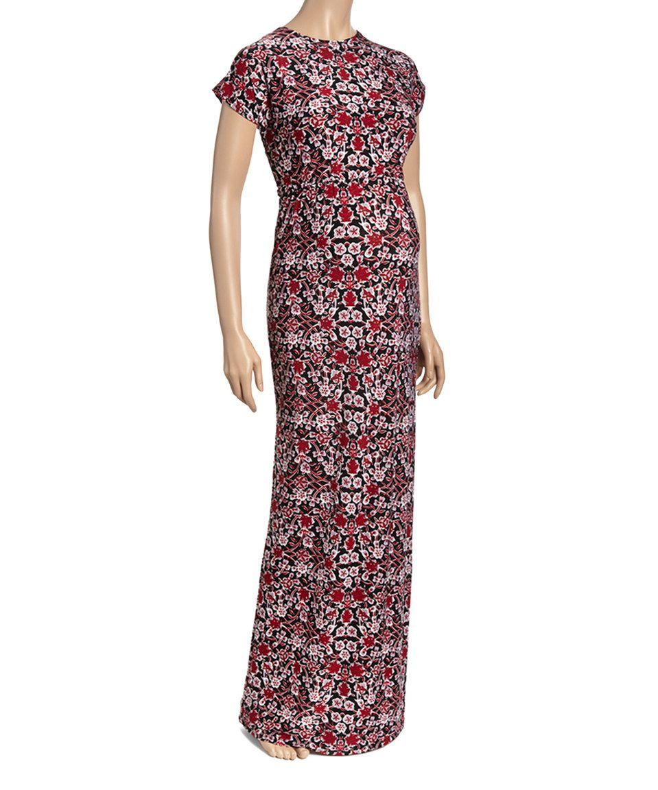 Love this burgundy floral maternity empirewaist maxi dress by glam