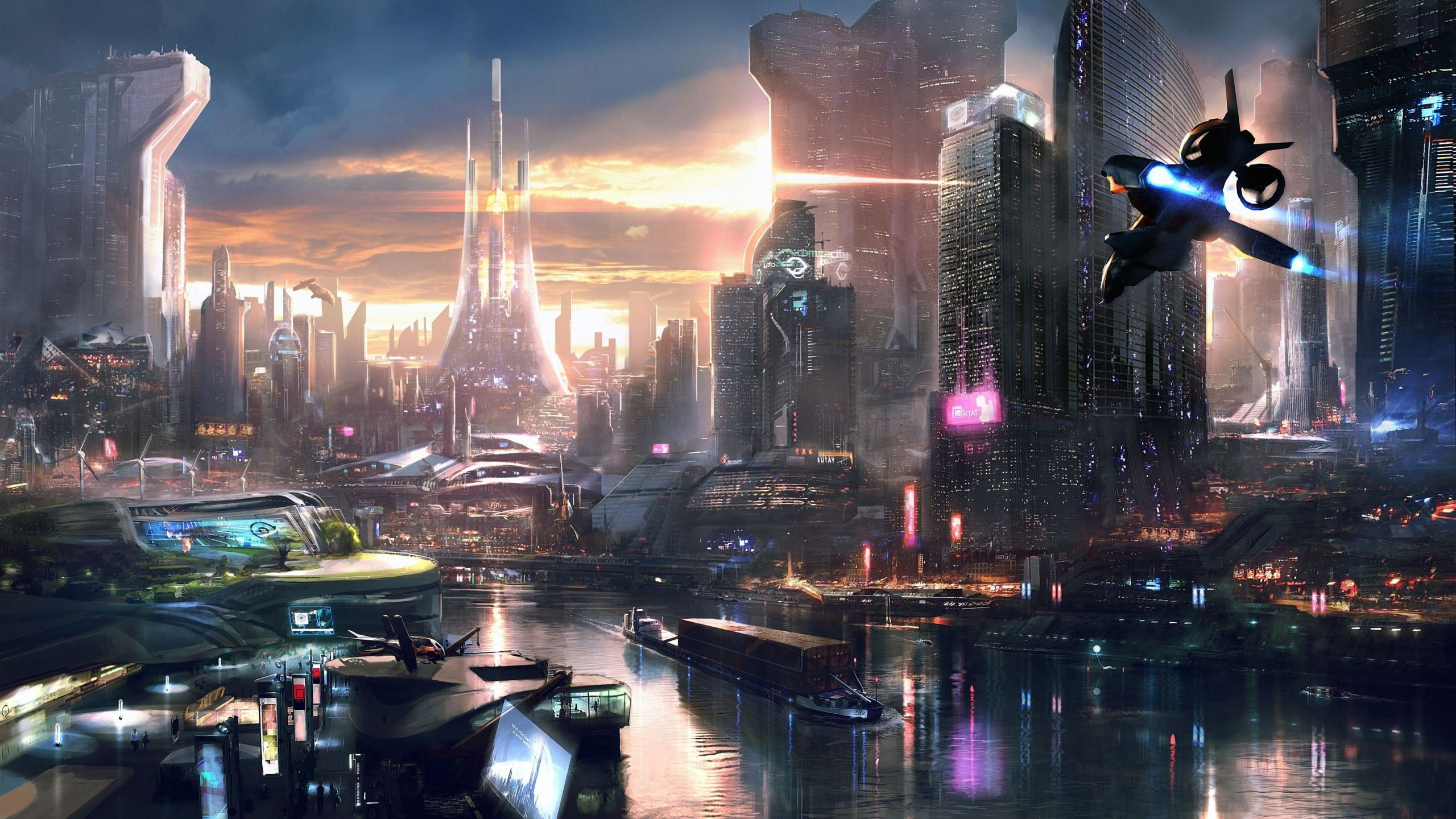 Black And Blue Plane Flying Near City Buildings By The Body Of Water Digital Wallpaper 3d Building Wallpaper Rememb In 2020 Futuristic City Sci Fi City Cyberpunk City