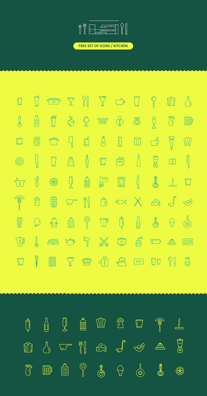 This is an awesome set of 100 linear icons free download for your restaurant or food branding projects all linear icons are scalable vectors in ai