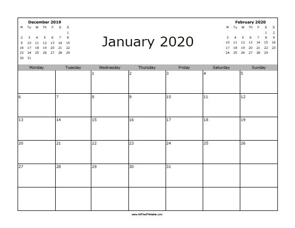January 2020 Calendar Starting with Monday Blank January 2020