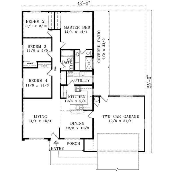 1400 Square Feet 4 Bedrooms 2 Batrooms 2 Parking Space On 1 Levels Floor Plan Number 1 House Floor Plans Unique House Plans Bungalow Floor Plans