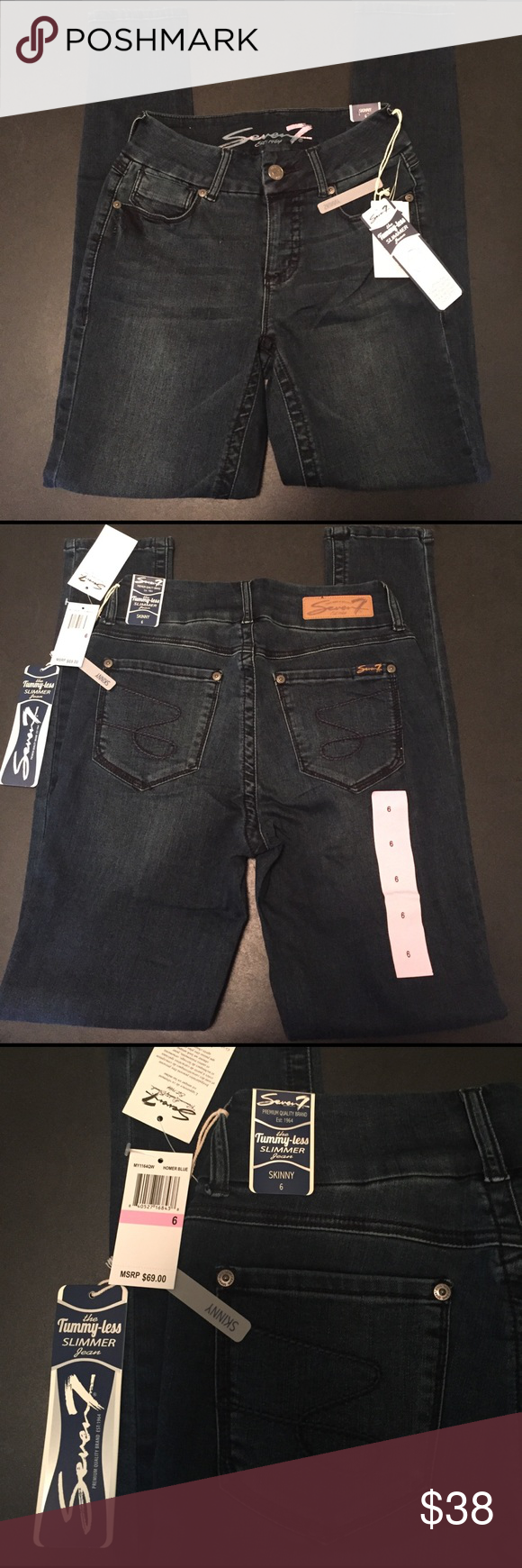Huge💸Save Seven7 Jean NWT This tummy less slimmer dark blue seven7 skinny jean helps give a slender silhouette figure. Very comfortable material size 6 NWT INSEAM 32 Seven7 Jeans Skinny