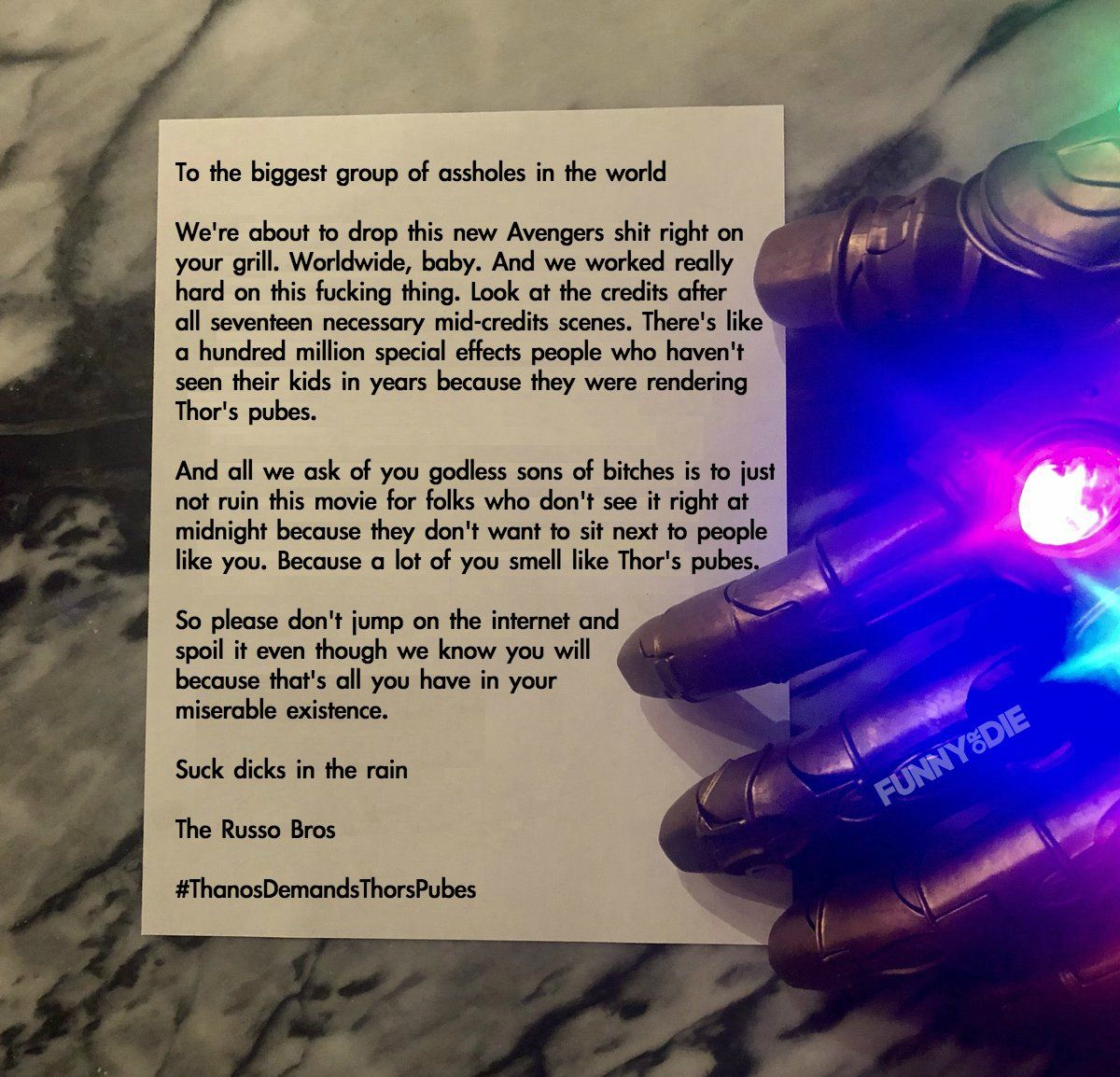 Image result for russo brothers letter