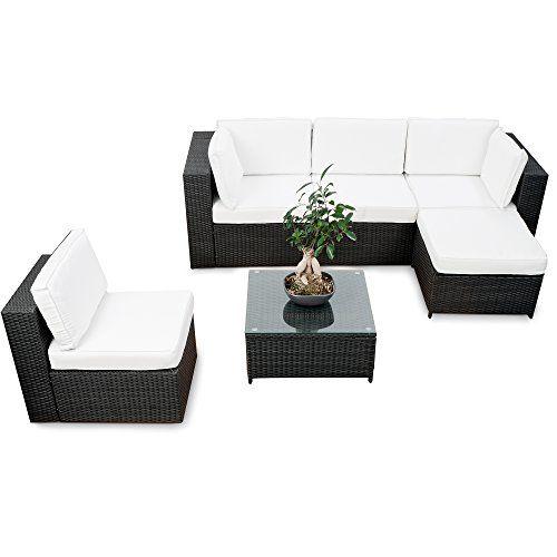 erweiterbare Gartenmöbel Polyrattan Lounge Möbel Set - schwarz