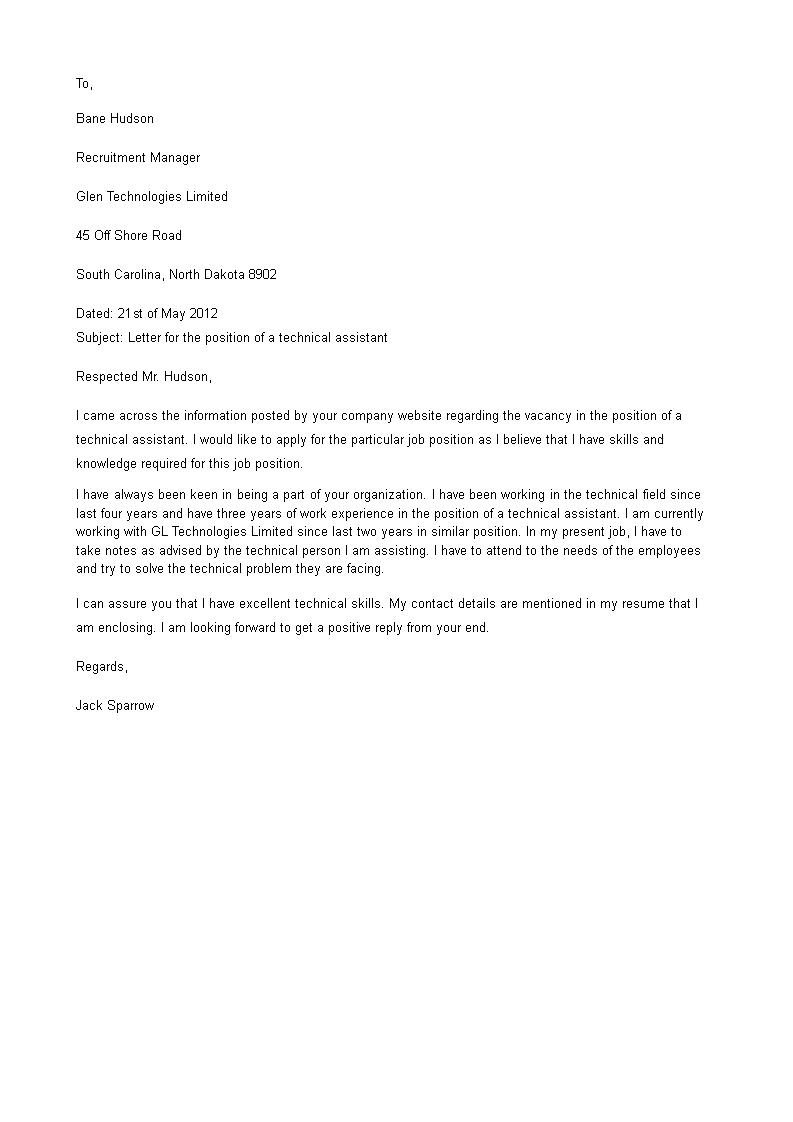 Technical Assistant Cover Letter - How to write a Technical ...