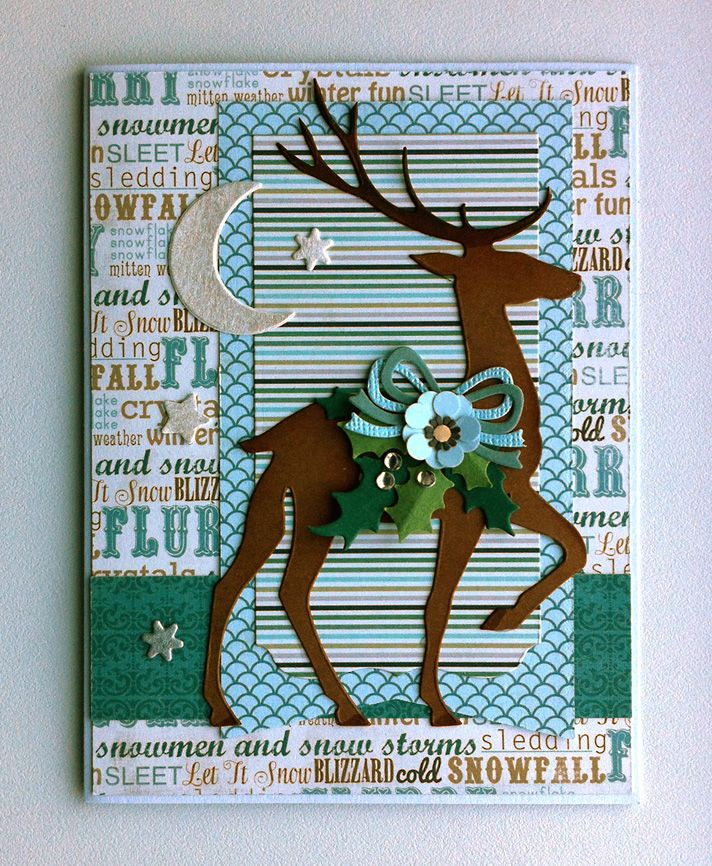 Card christmas deer - pranching deer Sizzix die Tim Holtz  #deer - jule kort jul rensdyr - Weihnachten Karte - Authentique paper pad Glistening collection  - Carta Bella Winter Fun - MFT Blueprints 13 banners - moon star - JKE