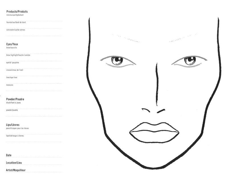 MAC Face Chart - You can use this template to keep track of the products you use to create a makeup look for yourself