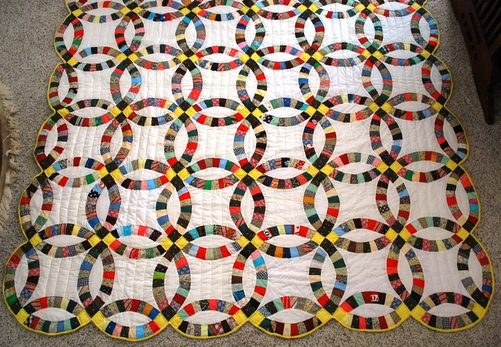 Vintage Interlocking Rings Quilt, Hand Stiched, Bright Sunshiney, Uplifting Quilt by RedRockVintage on Etsy