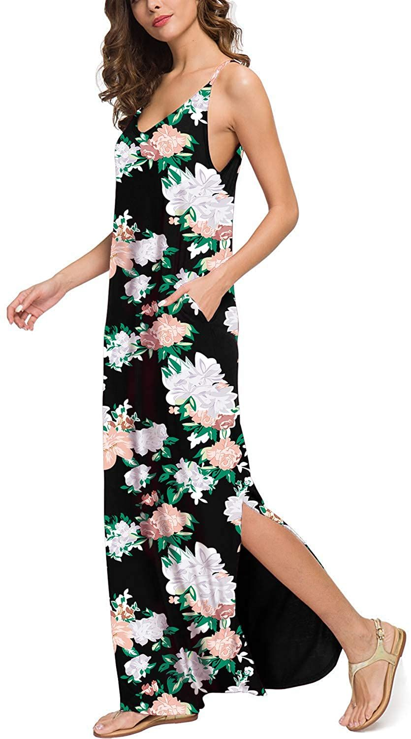 Women S Summer Casual Loose Dress Beach Cover Up Long Cami Maxi Dresses With Pocket Maxi Dress Cami Maxi Dress Loose Dress [ 1500 x 835 Pixel ]