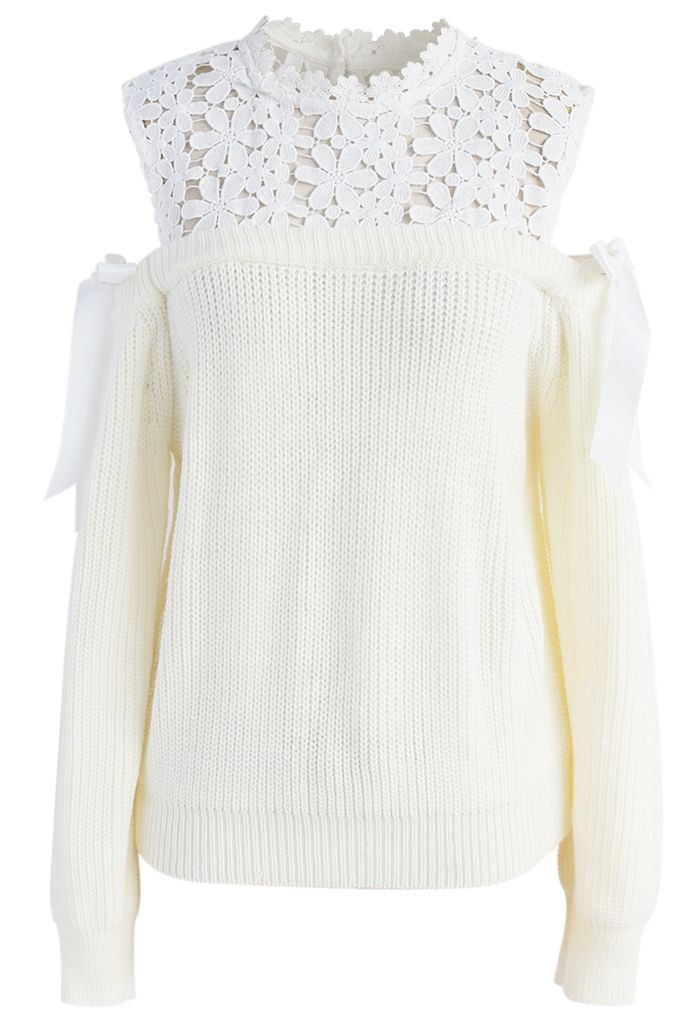 Sweet Evocation Cold-shoulder Sweater in Ivory - New Arrivals - Retro, Indie and Unique Fashion