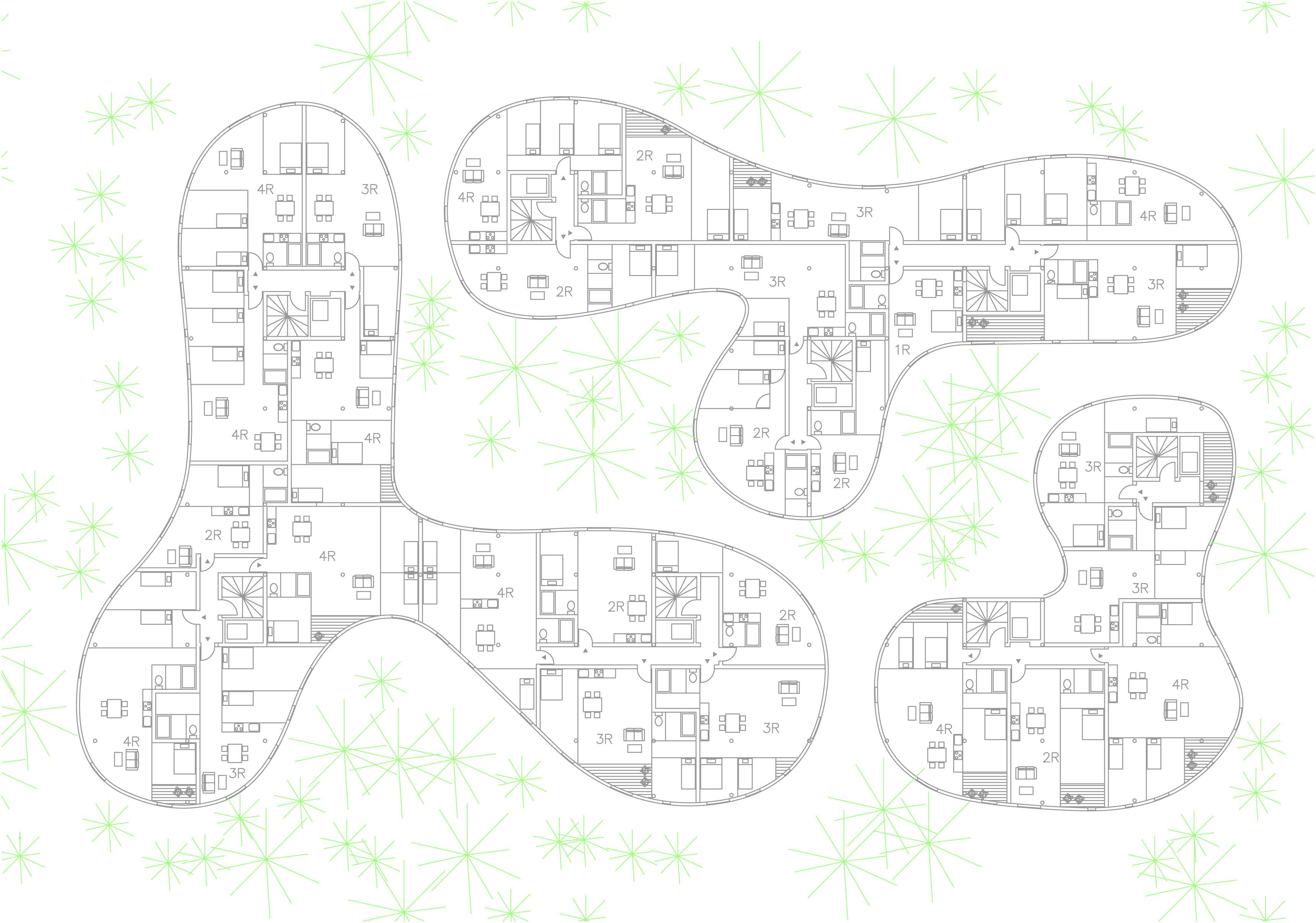 Sanaa 140 logements a plan pinterest sanaa logement for Architecture courbe