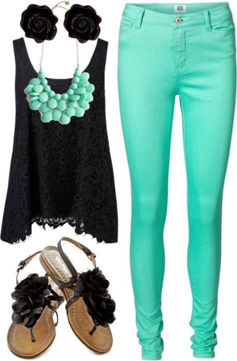 Mint jeans, black, statement necklace...a hot summer night