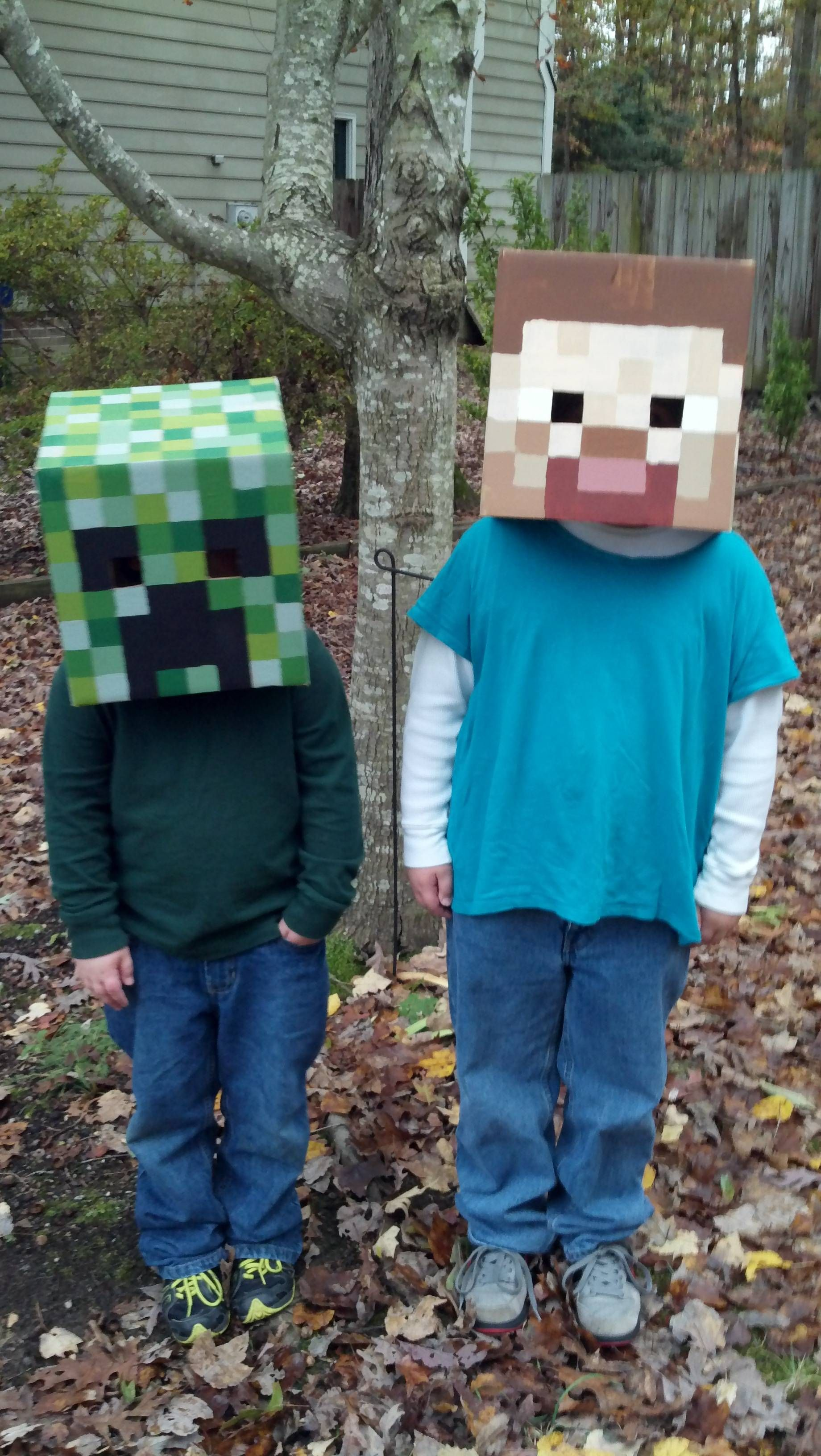 my kids' halloween costumes: creeper and steve from minecraft. in