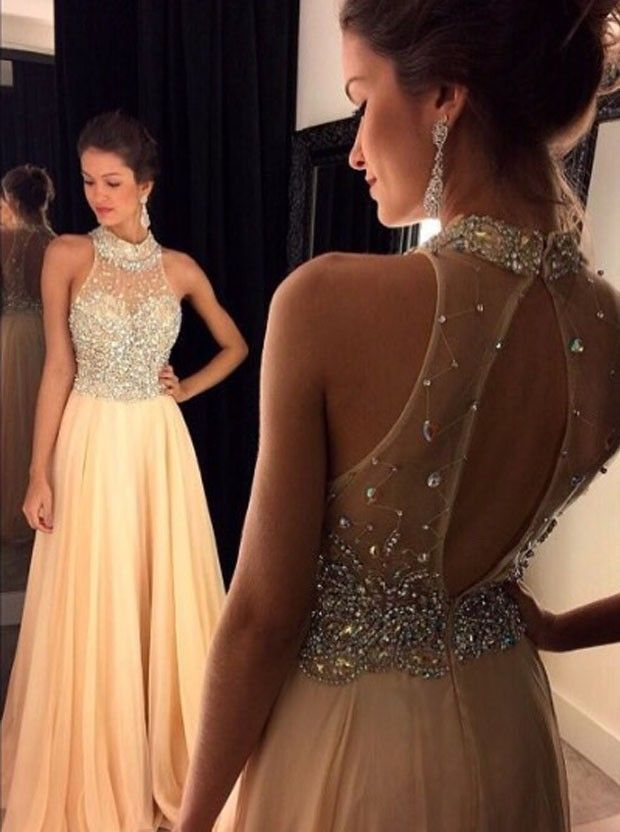 A-Line High Neck Open Back Peach Chiffon Prom Dress with Beading ...