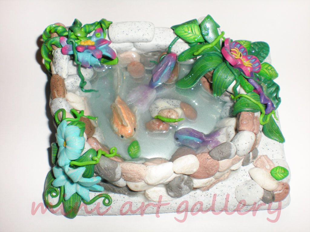 Fish pond / handmade lake / polymer clay, resin by artSistaFotini